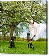Bmx Flatland Bride Jumps In Spring Meadow Acrylic Print