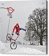 Bmx Flatland In The Snow - Monika Hinz Jumping Acrylic Print by Matthias Hauser