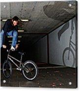 Bmx Flatland Monika Hinz Doing Awesome Trick With Her Bike Acrylic Print