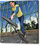 Bmx Flatland - Monika Hinz Riding On Rear Wheel Acrylic Print
