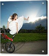 Bmx Flatland Rider Monika Hinz Jumps In Wedding Dress Acrylic Print