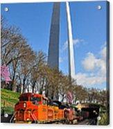 Bnsf Ore Train And St. Louis Gateway Arch Acrylic Print