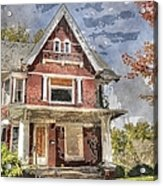 Boarded Up Old Characer Home Watercolor Acrylic Print