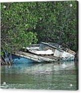 Boat Abandoned In The Mangroves Long Island Bahamas Acrylic Print