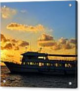 Boat At Sunrise Acrylic Print