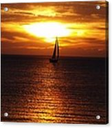 Boat At Sunset Acrylic Print