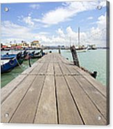 Boat Dock On Jetty In Penang Acrylic Print