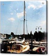 Boat - Docked Cabin Cruiser Acrylic Print