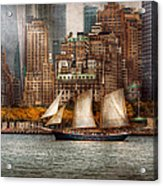 Boat - Governors Island Ny - Lower Manhattan Acrylic Print by Mike Savad