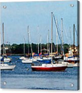 Boat - Group Of Sailboats Newport Ri Acrylic Print