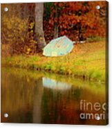 Boat  In Autumn In Wilmington Acrylic Print