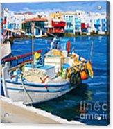 Boat In Greece Acrylic Print