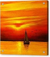 Boat In The Sunset Acrylic Print