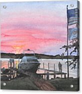 Boat Lake Sunset Watercolor Painting  Acrylic Print