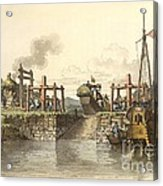 Boat Lock In China, 1800s Acrylic Print