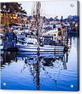 Boat Mast Reflection In Blue Ocean At Dock Morro Bay Marina Fine Art Photography Print Acrylic Print