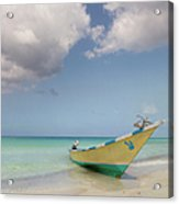 Boat Moored On Beach Acrylic Print