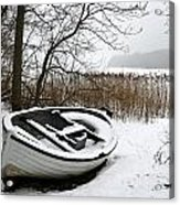 Boat On Iced  Lake In Denmark In Winter Acrylic Print