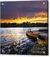 Boat On Lake At Sunset Acrylic Print