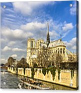Boat Passing Notre Dame De Paris  Acrylic Print