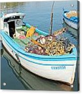 Boat Reflected In Sozopol Harbour Acrylic Print