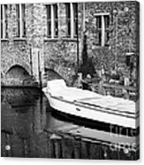 Boat Reflection In Bruges Acrylic Print