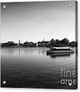 Boat Ride World Showcase Lagoon In Black And White Walt Disney World Acrylic Print