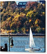Boat - Sailboat Near Chelsea Pier Acrylic Print