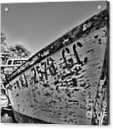 Boat - State Of Decay In Black And White Acrylic Print