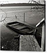 Boat In Ice - Lake Wingra - Madison - Wi Acrylic Print