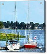 Boat - Two Docked Sailboats Norwalk Ct Acrylic Print