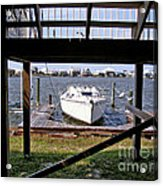 Boat View Under The Stairway Acrylic Print