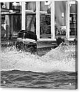 Boat Wake Black And White Acrylic Print