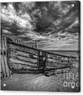 Boat Wreckage Bw Acrylic Print