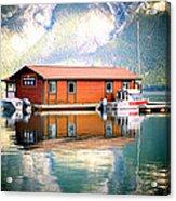 Boathouse Lake Minnewanka Ab Canada Acrylic Print