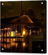 Boathouse Night Glow Acrylic Print by Michael Thomas