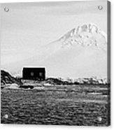boathouse on goudier island port lockroy with doumer island hill Antarctica Acrylic Print
