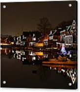 Boathouse Row All Lit Up Acrylic Print by Bill Cannon