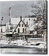 Boathouse Snow Acrylic Print