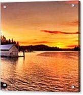 Boathouse Sunset On The Sunshine Coast Acrylic Print