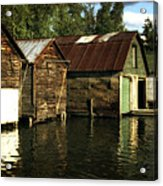 Boathouses On The River Acrylic Print