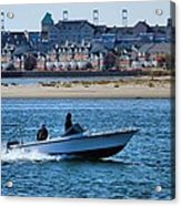 Boating In New York Harbor Acrylic Print by Dan Sproul
