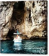 Boating In The Grotto Acrylic Print by H Hoffman