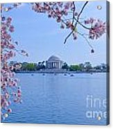 Boats Across The Basin Of Blossoms Acrylic Print