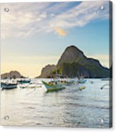 Boats Anchored In Bacuit Bay And Cadlao Acrylic Print