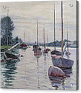 Boats Anchored On The Seine Acrylic Print by Gustave Caillebotte