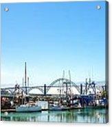 Boats And Bridge Acrylic Print