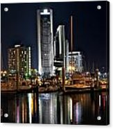 Boats And City Lights Acrylic Print