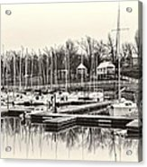 Boats And Cottages In B/w Acrylic Print