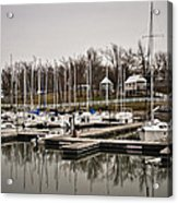 Boats And Cottages On Overcast Day Acrylic Print by Greg Jackson